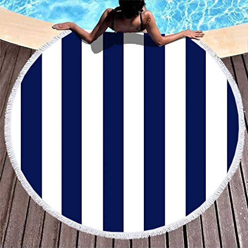 HMML Personalized Round Beach Towels Blankets - Wide White Blue Stripes Microfibre Camping Gym Towel Lightweight with Fringes Compact for Beach Bath Travel Pool Sports Spa Swimming White 59 inch