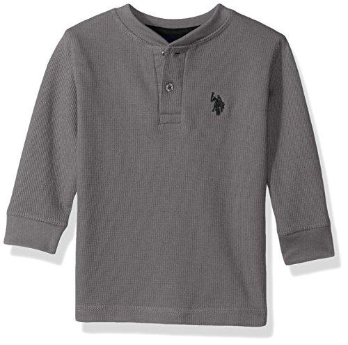 U.S. Polo Assn. Boys Long Sleeve Fancy Henley Thermal Sweatshirt
