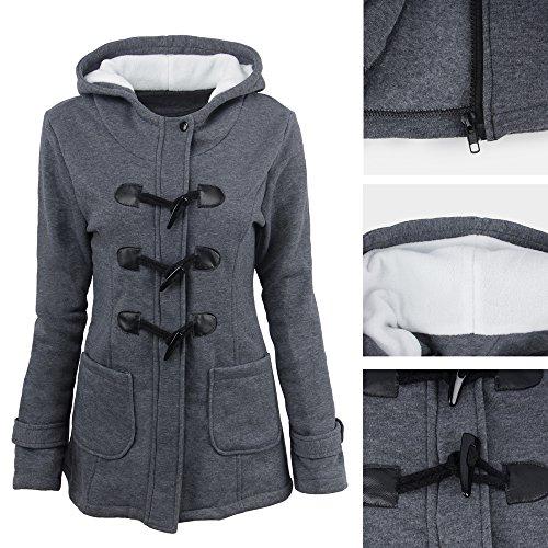 Botones Gris Casual Oscuro Pullover Con Capucha Largas Mujer Invierno Chaqueta Sudadera Mangas Parka Jacket Bozevon Abrigo q6zwpx
