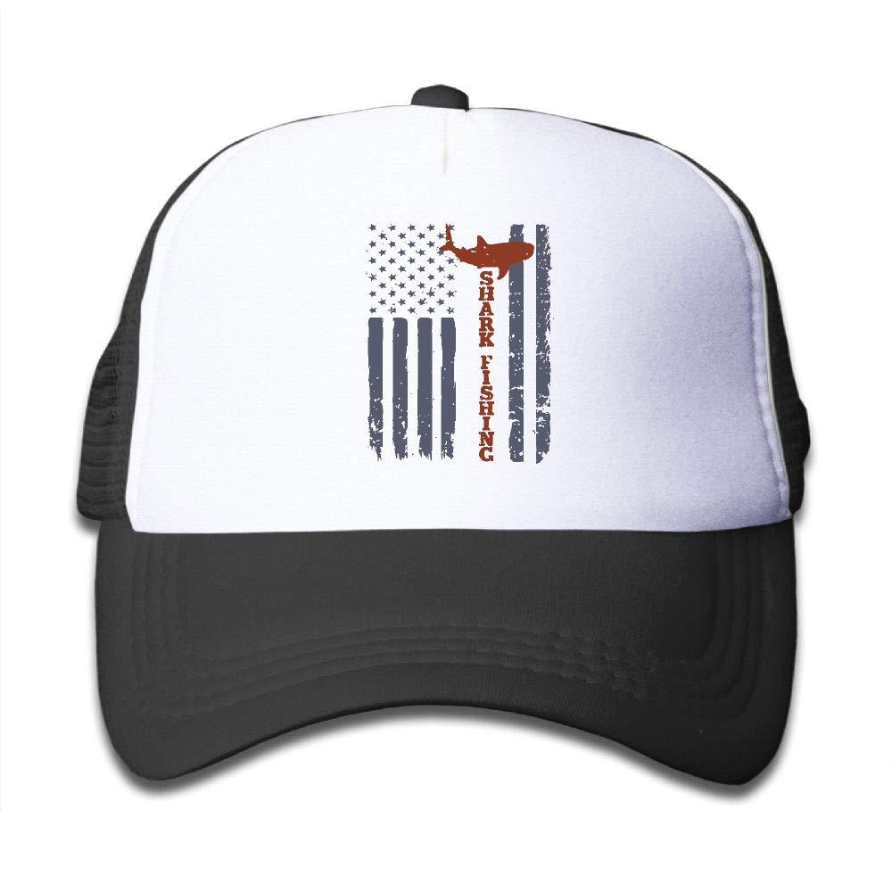 Kid's Boys Girls USA Shark Fishing Flag Youth Mesh Baseball Cap Summer Adjustable Trucker Hat