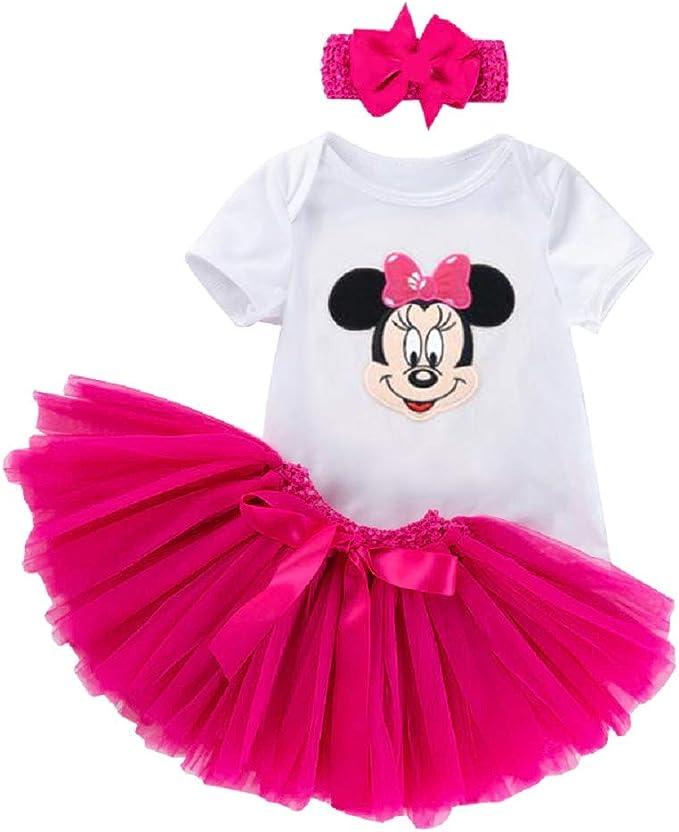 Body Ballerina Tutu Bambina Maglia Neonata Topolina Bimba Rosa Minnie Mouse Fascia Capelli Bianco Completino KIRALOVE Completo Prima Infanzia Tulle Maglietta