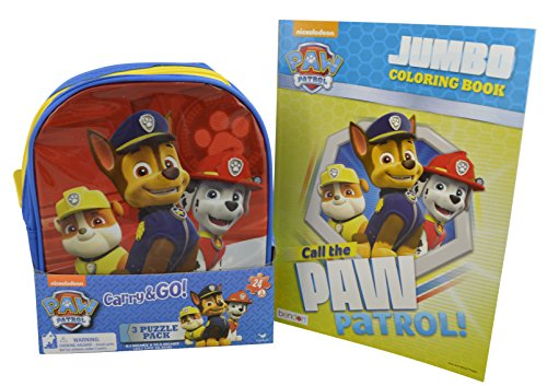 Nickelodeon Paw Patrol 3 Puzzle Set in Carry and Go Shaped Backpack w/ Bonus Activity Book