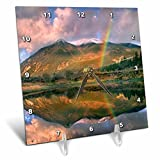 3dRose Danita Delimont - Rainbows - Rainbow over Twin Lakes and Sawatch Range, Colorado, USA - 6x6 Desk Clock (dc_259141_1)