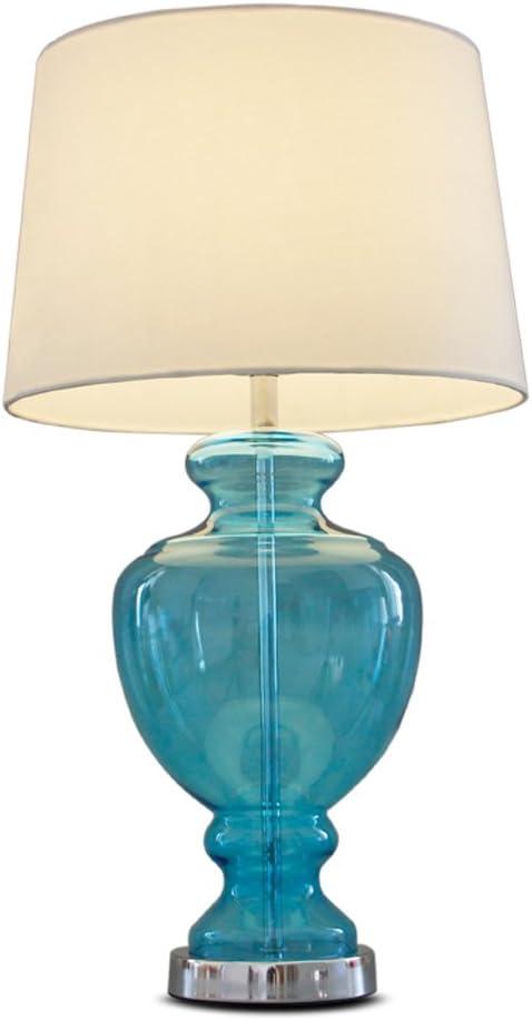 Lámpara de Mesa Vidrio Azul Marino lámpara de mesita de Noche de ...