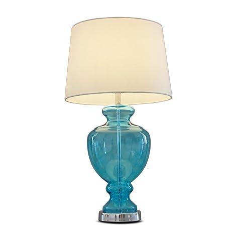 Lámpara de Mesa Vidrio Azul Marino lámpara de mesita de ...
