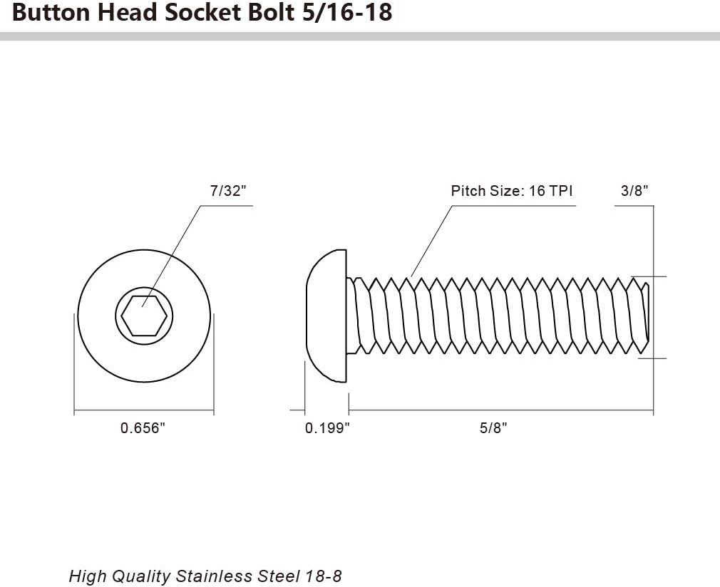 3//8-16 x 3//4 Button Head Socket Cap Bolts Screws Allen Hex Drive Quantity 10 Stainless Steel 18-8