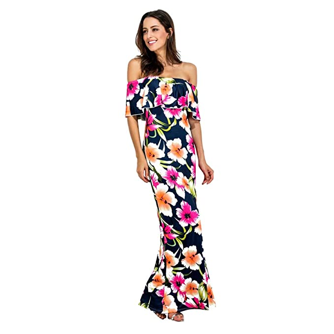 ad9b7e2e4 Qingsiy Vestido de Mujer Falda Vestido con Volantes Sea Beach Elegante de  Noche para Boda Fiesta Vacaciones Largo Vestido de Coctel del Partido de  Boho de ...