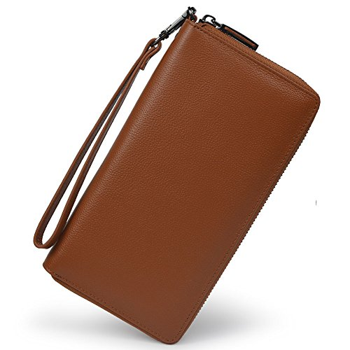 Women RFID Blocking Wallet Leather Zip Around Phone Clutch Large Travel Purse Wristlet (Brown) ()