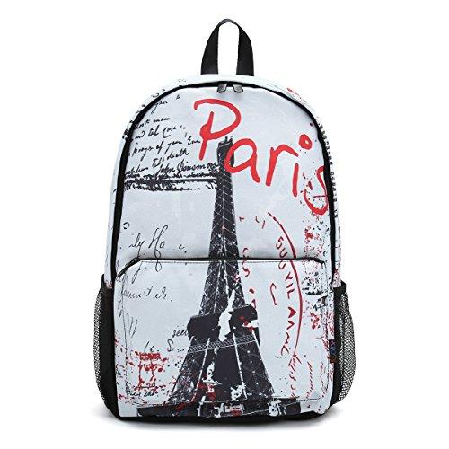 Fashion Paris Unisex Canvas Rucksack Vintage Computer Laptop Backpack School Backpack Shoulder Bag (Paris) CPB-64 - Paris Laptop Carrying Backpack