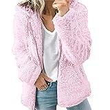 WYTong Clearance! Women Girls Warm Zipper Fleece Jacket Winter Hooded Coat Fuzzy Pockets Outwear(Pink,L)