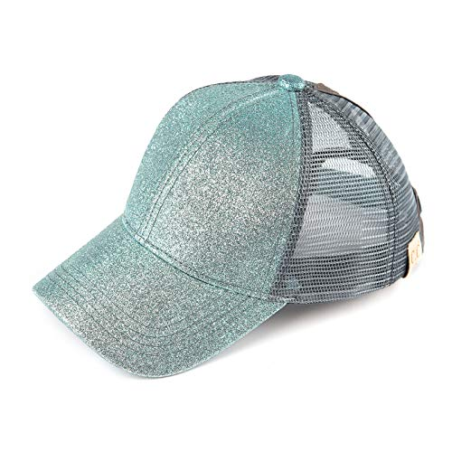 C.C Hatsandscarf Kids Ponytail caps Messy Buns Trucker Plain Baseball Cap (BT-6-KIDS) (Mint) (Girls Caps And Hats)