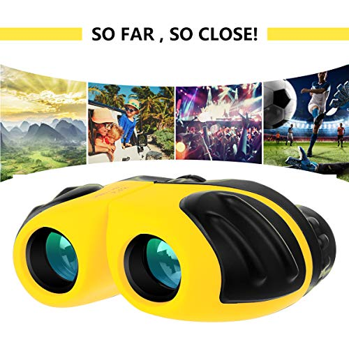 Gifts for 5 6 7 8 Year Old Girls, Compact Shockproof Binocular for Kids Toys for Boys Girls Age 4-10 Birthday Present for Kids 8x21 Yellow (10 Binoculars Top)
