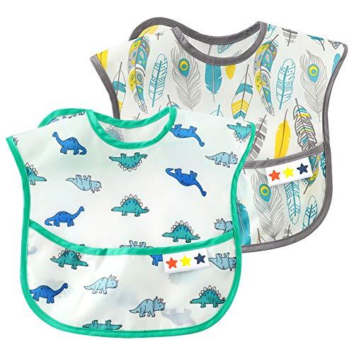 Baby Lightweight Waterproof Bib Pocket Eating Bibs Adjustable Sleeve Bibs Crumb Catcher Bibs Washable Feeding Bibs Stain and Odor Comfortable Bibs Short Sleeve Bib 6-24 Months Dinosaur