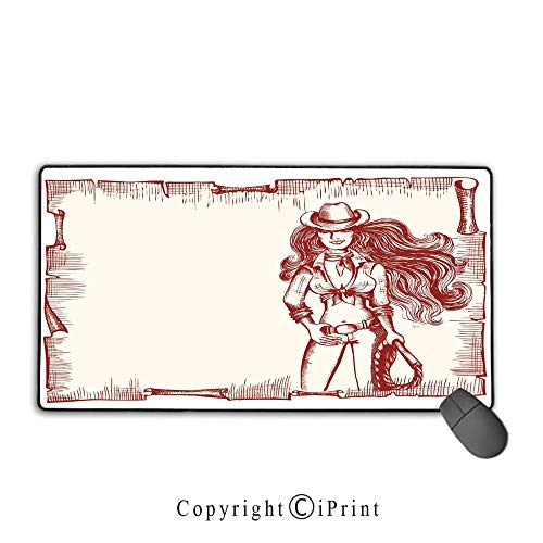 Waterproof Coated Mouse pad,Western,Sexy Young Cowgirl with Lasso Old Paper Style Background Hairstyle Vintage Frame,Ruby White,Suitable for laptops, Computers, PCs, Keyboards, Mouse pad with Lock,15 ()