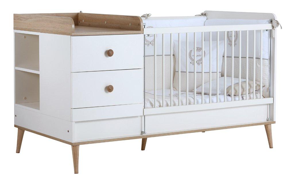 Baby Kinder Bett Gitterbett Liva / das Bett das mit Ihrem Kind mit wächst Inkl. Kommode und Wickelablage / 7 JAHRE GARANTIE
