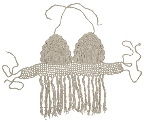 Bellady Crochet Bikini Top Fringed Bikini Bra Tassel Bralette Vest, Khaki
