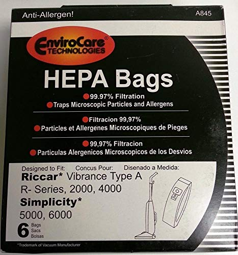 (Vacuum Cleaner Bags 6 pk RICCAR HEPA Type A Vacuum Bags for Simplicity, Vibrance VIBCL2000 Part A845)