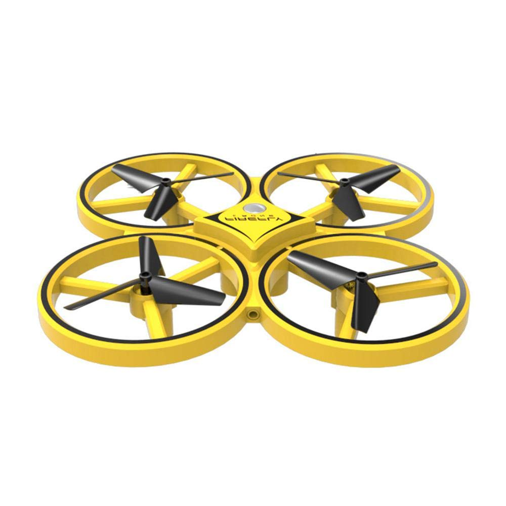 Yellow UFO Quadcopter Drone, TEEPAO RC Mini Quadcopter Kit for Kids Beginners Adults with Smart Watch Remote Control, Gravity Induction Mode, Infrared Obstacle Avoidance, Altitude Hold