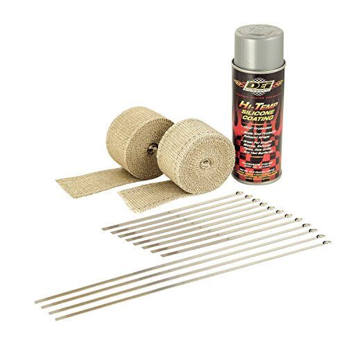 Design Engineering DEI 010331 Motorcycle Exhaust Pipe Wrap Kit with Hi-Temp Silicone Coating Spray - Tan Wrap/Aluminum - Wrap Exhaust Tan