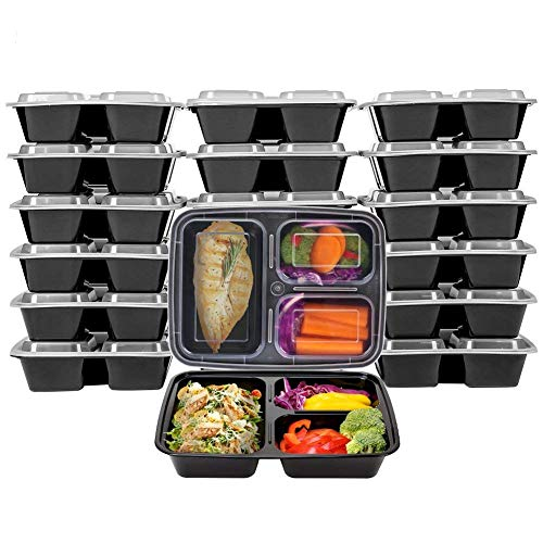 Vivaware [20 Pack] 3 Compartment Meal Prep Containers with Lids - Food Storage Bento Box - BPA Free - Stackable - Reusable Lunch Boxes - Microwave , Dishwasher , Freezer Safe - Portion Control by Vivaware