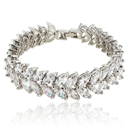 (EVER FAITH Silver-Tone Full Cubic Zirconia Prong Shining Leaves Wedding Bracelet Clear)