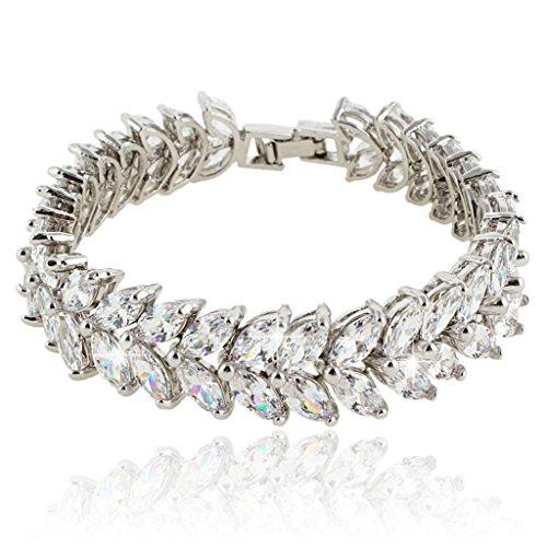 Swarovski Bangle Rhinestone (EVER FAITH Silver-Tone Full Cubic Zirconia Prong Shining Leaves Wedding Bracelet Clear)