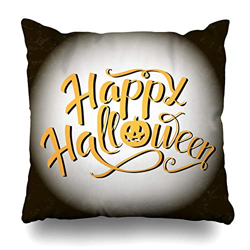WAYATO Pillow Case Short Plush Throw Pillow Covers Happy Halloween Lettering White Moon Pumpkin Instead Letter Trick Treat Lettering Party Bed Home Decor Cushion Cover 18X18 Inch