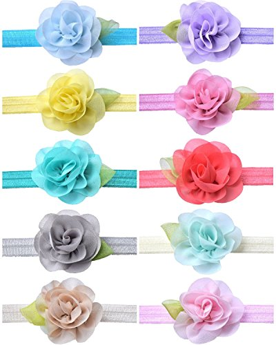 CrepeMyrtle 10pcs Headbands for Baby Girls, Babies, Toddlers, Baby Showers, Baby Registry Gift