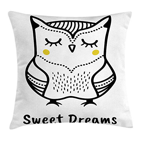 Sweet Dreams Throw Pillow Cushion Cover, Hand Drawn Monochrome Owl Doodle Composition with Dots Animal, Decorative Square Accent Pillow Case, 24 X 24 Inches, Yellow Black and White