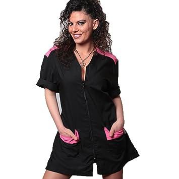 Bata, uniforme de esteticista, masaje, trabajo en centros de Belleza y Salud, fucsia, M: Amazon.es: Hogar