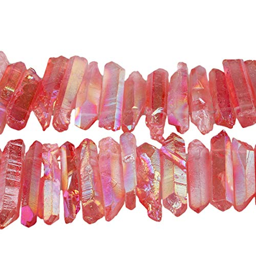 TUMBEELLUWA Rock Quartz Crystal Points Loose Beads for Jewelry Making, Titanium Coated Polished/Raw Quartz Points Beads 15 Inches Top Drilled,Red Crystal Points(0.5