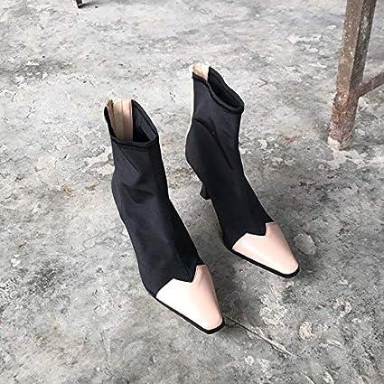 Shukun Botines Botas de Botines Gruesos con otoño Invierno Square Head Martin Botas Calcetines de Mujer