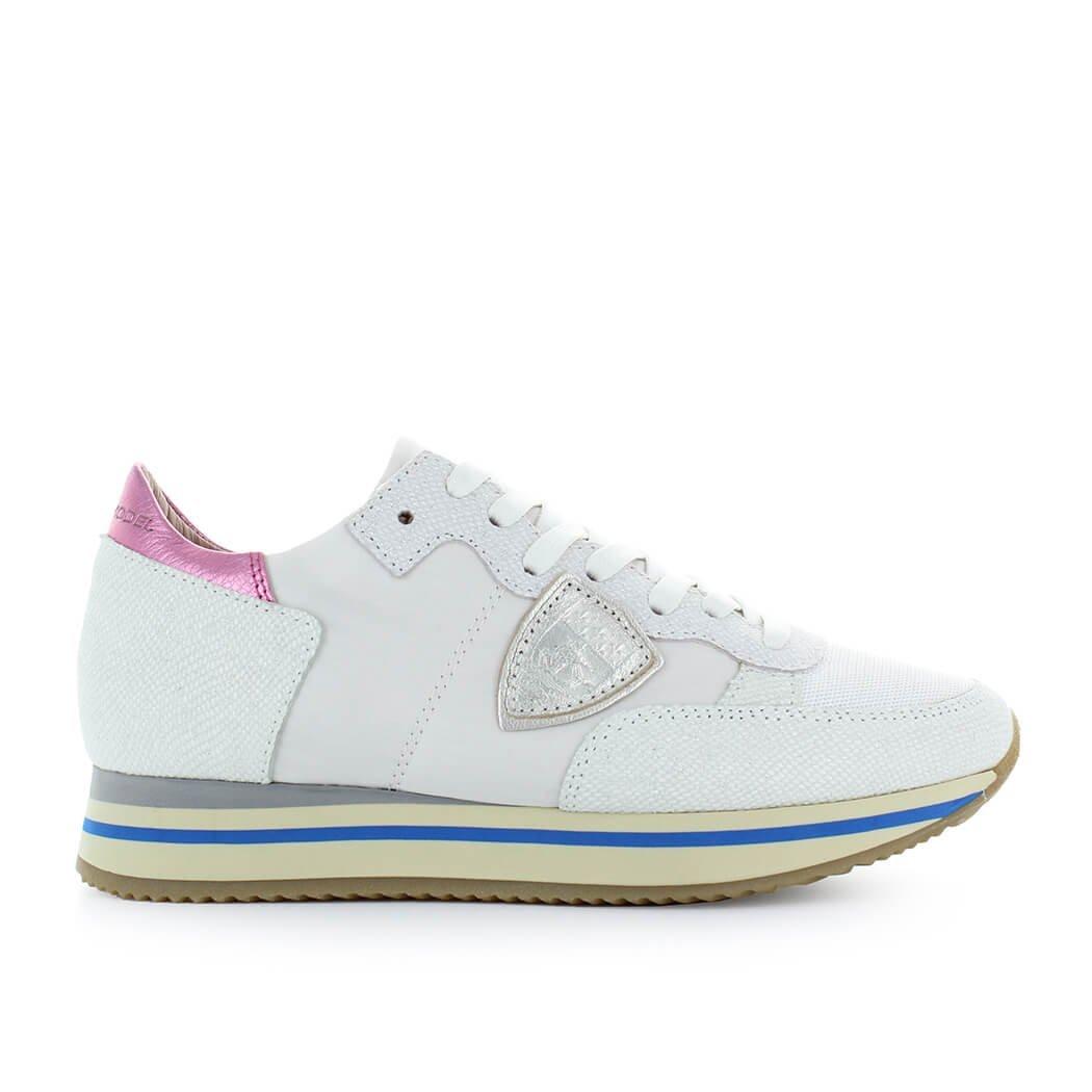 Zapatos de Mujer Zapatilla Tropez Alta Blanco Glitter Philippe Model Primavera Verano 2018 36 EU