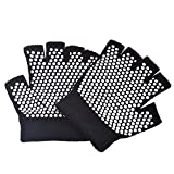 Cosmos® Black Color Fingerless Exercise Non Slip Yoga Pilates Gloves with White Silicone Dots (One pair)