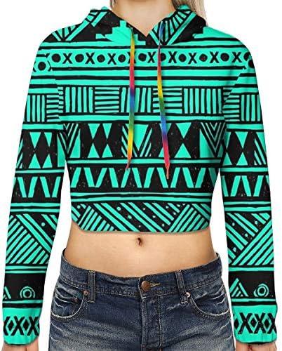 かわいいガーリー部族アステカクロップドパーカー女性の2019ファッション長袖パッチワーククロップトップスウェットスポーツジムオフィススクール