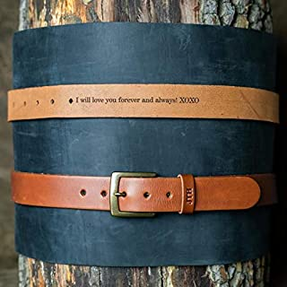 product image for No. 202 Fine Leather Belt in Chestnut Brown – Personalized Custom Belt – with Secret Message – Square Brass Buckle