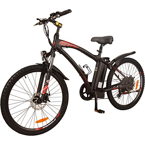 - DJ Mountain Bike 750W 48V 13Ah Power Electric Bicycle, UL 2849, Matte Black, LED Bike Light, Fork Suspension and Shimano Gear,