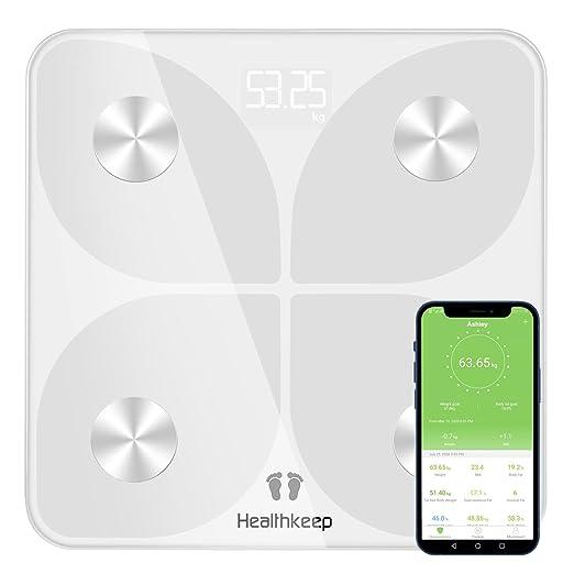 Báscula Grasa Corporal Báscula de Baño Digital, Balanza Bluetooth Inteligente con Análisis de 13 Funciones, Báscula Electrónica Monitores con App para ...