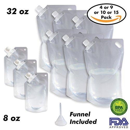 Cruise Ship Flask Kit - Reusable & Concealable Liquor Bags - Sneak or Smuggle Booze & Alcohol (6x32oz + 3x8oz + Funnel - Cruise Booze