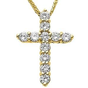 Amazon.com: 14k Yellow Gold Diamond Elegant Cross Pendant