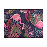 My Little Nest Area Rug Beautiful Pink Flamingo Palm Leaves Lightweight Non-Slip Soft Mat 4'10 x 6'8, Memory Sponge Indoor Outdoor Decor Carpet For Living Dining Room Bedroom Office Kitchen