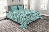 Lunarable Teal Bedspread Set Queen Size, Spirals Swirl Patterns Abstract Waves Ornamental Style Wind Inspired Artwork Print, Decorative Quilted 3 Piece Coverlet Set with 2 Pillow Shams, Teal Turquoise