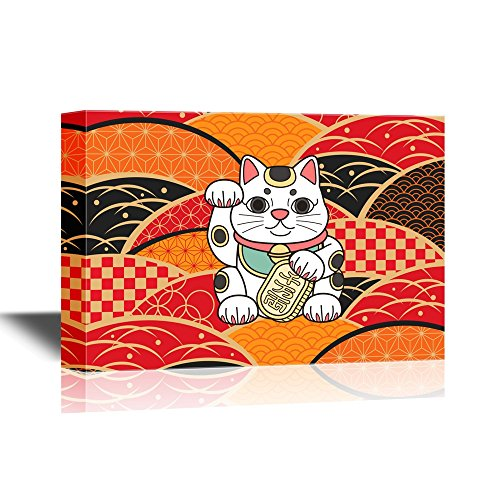 Japanese Culture The Traditional Fortune Cat with Japanese Style Background