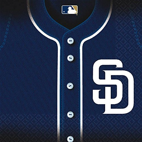 Amscan Sports & Tailgating MLB Party San Diego Padres Luncheon Napkins (36 Piece), Blue/White, 6.5 x - San Outlets In Diego