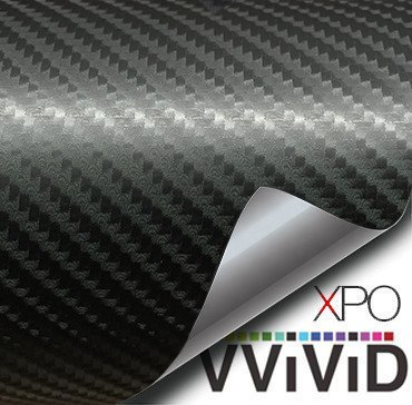 VViViD Black True R Carbon Fiber Vinyl Wrap Roll with Air Release Technology (6ft x 5ft (Hood, Roof or Trunk Wrap Kit))