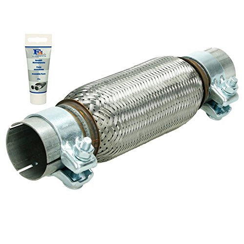 ECD Germany Flex-020 Universal flexible tube - 55 x 200 mm - with 2 clamps - made of stainless steel - Interlock - assembly without welding + exhaust paste 60g paste - flexible tube: