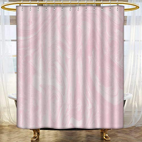 Mikihome Shower Curtains Fabric Extra Long Background Painted Marble Texture Acrylic Ink marbl Pink Bathroom Accessories W72 x H96 inch