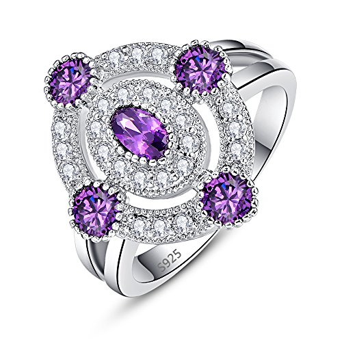 - Psiroy 925 Sterling Silver Created Amethyst Filled Oval Cut Art Deco Knuckle Statement Ring for Women