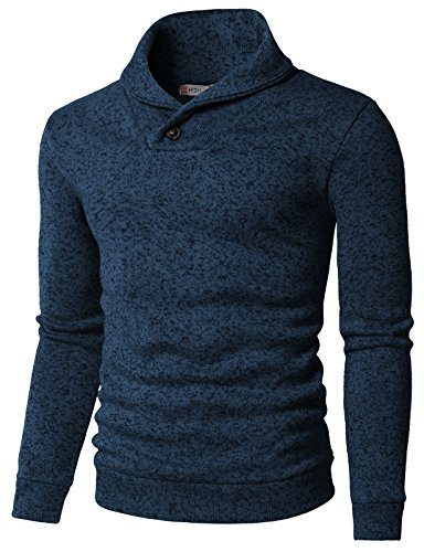 - H2H Mens Knited Slim Fit Pullover Sweater Shawl Collar with One Button Point Bluegreen US M/Asia L (KMOSWL036)