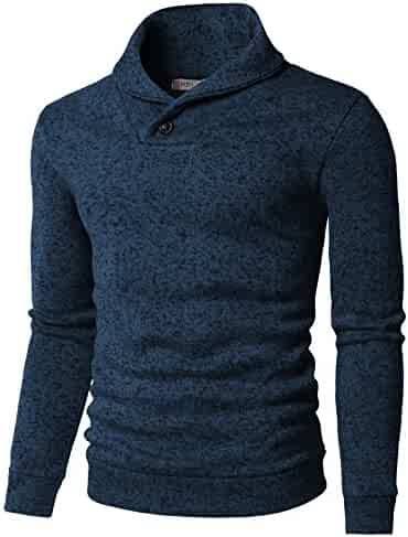 02069ab1c6 H2H Mens Knitted Slim Fit Pullover Sweater Shawl Collar With One Button  Point